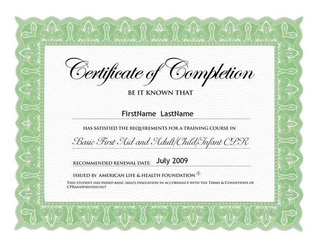 CPR First Aid Home – First Aid Certificate Template