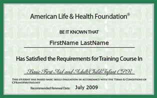 ... Certificate Or Wallet Card. Our CPR And First Aid ...  First Aid Certificate Template